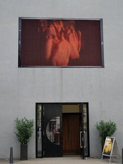 """""""Museum für Gegenwartskunst in Siegen, Eingang mit dem Foto """"Tulips"""" auf der Video-Wand am Museumseingang"""", Foto © Friedhelm Denkeler 2011"""