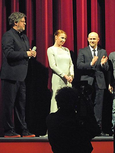 """""""Matthias Glasner, Birgit Minichmayr und Jürgen Vogel im Berlinale-Palast"""", Foto © Friedhelm Denkeler 2012"""