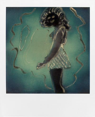 """Schwarze Maske"", Polaroid SX-70"", Foto © Friedhelm Denkeler 1988"