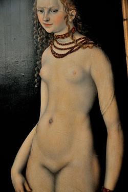 """Venus ohne Pelz"" (Ausschnitt aus 'Venus und Amor', Lucas Cranach d.Ä., um 1530), Foto © Friedhelm Denkeler 2013"