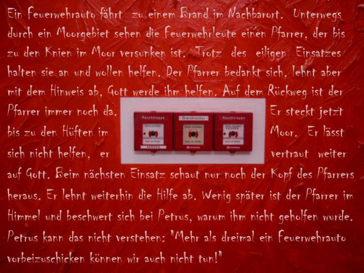 »Petrus und die Feuerwehr«, Foto + Grafik © Friedhelm Denkeler 2007