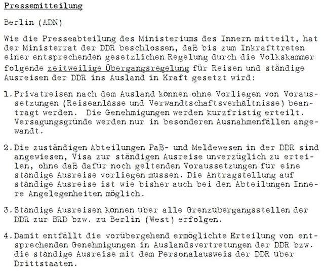 Pressemitteilung der ADN am 9. November 1989, Quelle: BStU