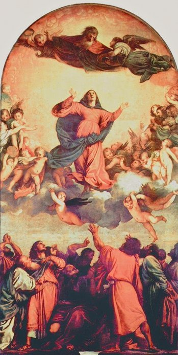 """Tizian: Maria Himmelfahrt"", Hochaltar für Santa Maria Gloriosa dei Frari in Venedig, 1516–1518"", Quelle: Wikipedia"