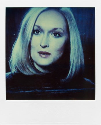 """Meryl Streep"", Polaroid SX-70,  aus der Serie ""TV-Porträt"", Foto © Friedhelm Denkeler 1987"