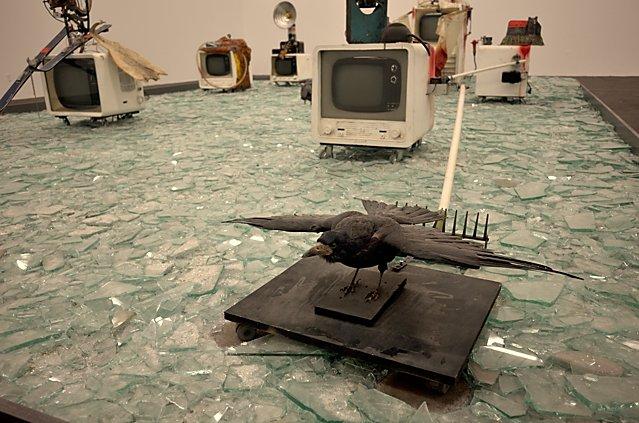 """Wolf Vostell: """"Elektronischer dé-coll/age Happening Raum E. d. H. R."""" (Ausschnitt), 1968-1982, Foto © Friedhelm Denkeler 2017"""