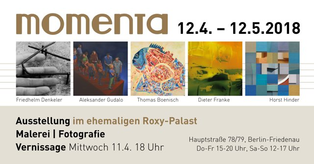 """Einladung zur Vernissage der »momenta"" im Roxy-Palast"", Grafik © Horst Hinder 2018"
