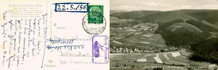 »Ansichtskarte aus Bödefled im Hochsauerland an Familie Hermann Schmidt in Lüdenscheid vom 22. Mai 1956«  mit Zusatzstempel »Aug. Meinert (mit Kaninchen)« Archiv Friedhelm Denkeler 1956