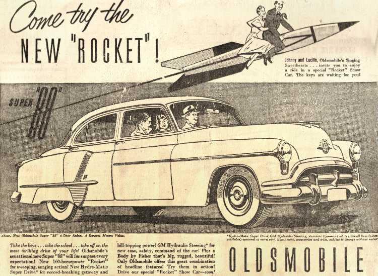 Werbeanzeige Oldsmobile »Rocket 88«, Quelle: Internet