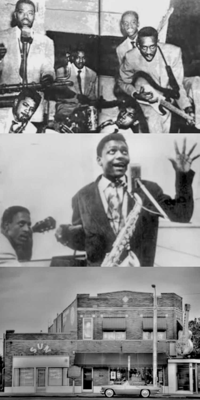 """1951 – Jackie Bengston: »Rocket 88« (Unten: Aufnahmeort von Rocket """"88"""" in Memphis, Tennessee, bekannt als """"Sun Studios""""), Fotos/Collage © Friedhelm Denkeler"""