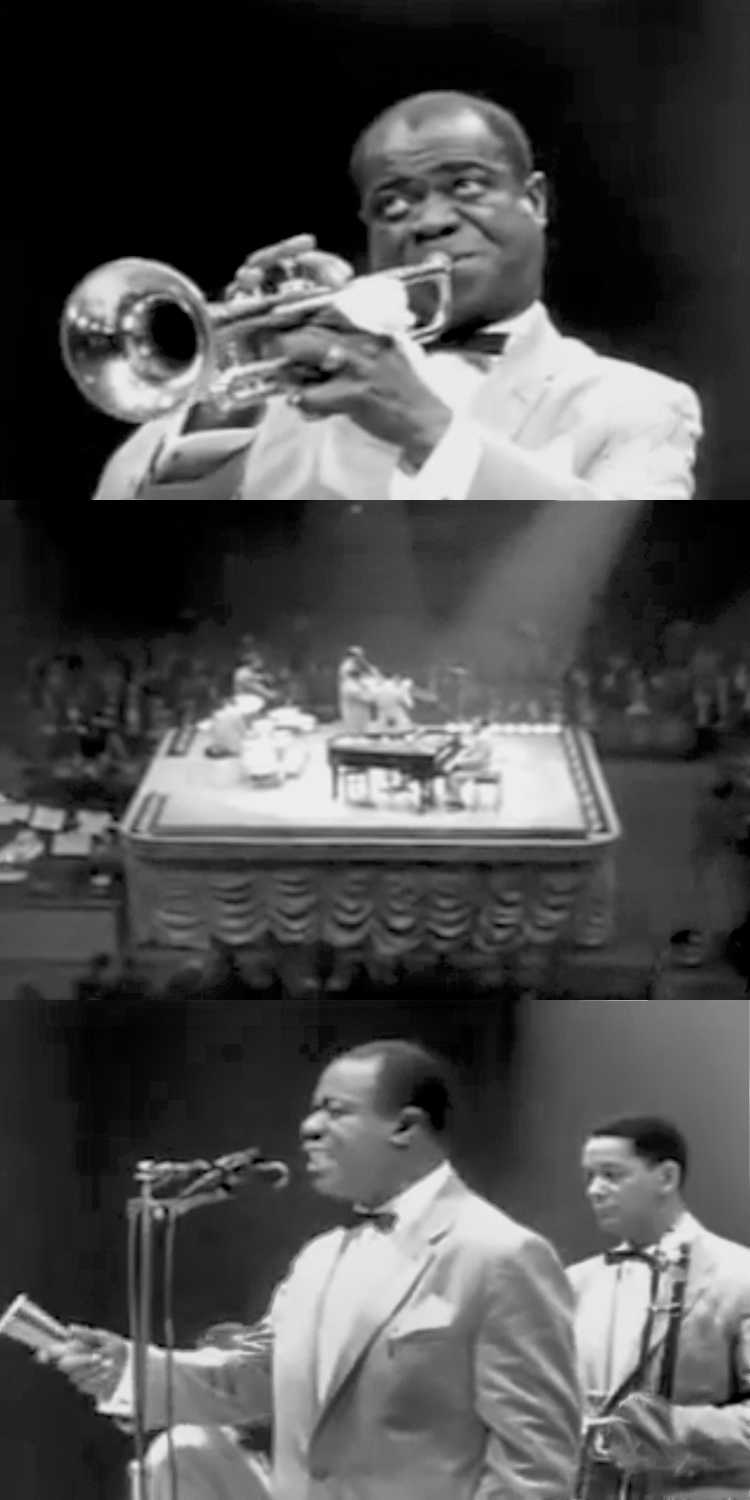 1956 – Louis Armstrong: »Mack the Knife«, Fotos/Collage © Friedhelm Denkeler